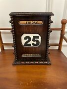 Large Antique English Oak Wood Perpetual Calendar W Carved Beaded Decorations