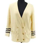 Cc Button Double Breasted Long Sleeve Cardigan Black Ivory Cashmere 35070