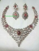 Victorian Ruby Gems With Rose Cut Diamond Necklace Stylish 925 Silver Necklace
