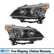 Headlights Headlamps Halogen Left And Right Pair Set For Bmw E60 5 Series New