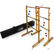 Yard Games Backyard Outdoor Wooden Double Ladder Toss Game Set W/ Case Red/blue