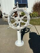 Edson Sailboat Pedestal And Wooden Wheel Man Cave Nautical Decor