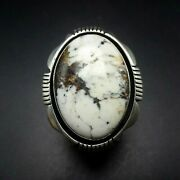 Lonnie Willie Navajo Sterling Silver White Buffalo Turquoise Ring Size 9.25