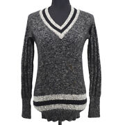 96a 40 Cc Logos Long Sleeve Knit Tops Black Cashmere Authentic 04415