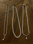Lot Of 3 Costume Jewery - Simple Pearl, Pearl And Stone