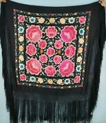 Antique Chinese Hand Embroidery Piano Shawl 153x147cm Fringe 63cm