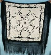 Big Antique Chinese Hand Embroidery Piano Shawl 164x161cm Fringe 60cm