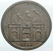 1812 England Hull Yorkshire Lead Works Old Conder Penny Bank Token Coin I87657