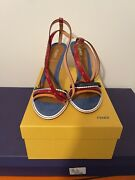 Fendi Woman's Leather Peach Ankle Strap Sandals Size 38.5 Brand New Orig 695