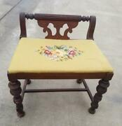 Vintage Mid Century Green Tapestry Wood Ottoman Bench Settee