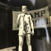 Vintage Black And White Photo Boy Holding Caught Fish Camp Iroquois Summer