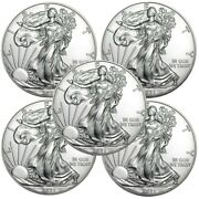 Lot Of 5 - 2021 American Eagle Coins 1 Oz .999 Fine Silver Uncirculated In Stock