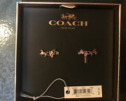 Coach Women's Rose Gold Horse And Carriage Logo Post Earrings Discontinued Nwt Nib