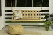 Porch Swing Bench Natural Wood 5 Ft Hanging Outdoor Garden Patio Bench W/ Chains