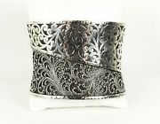 Lois Hill 835 Sterling Silver Granulated And Scroll Design Wide Cuff Bracelet