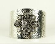 Lois Hill Sterling Silver Hammered Granulated And Scroll Design Wide Cuff Bracelet