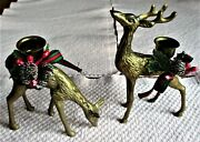 Vintage Brass Reindeer Candle Holders With Christmas Greenery.. Mc.