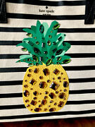 Only One Nwt Kate Spade By The Pool Pineapple Striped Canvas Mega Sam Tote