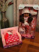 My Life As Hello Kitty 18 Poseable Doll Dark Skin Brown Hair Sofa Bed Set New