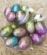New 3 Sets Of X 8 Pc Easter Glitter Hanging Eggs Decorations 2.25