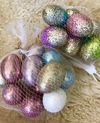 New 2 Sets Of Easter Glitter Hanging/not Hanging Eggs Decorations 2.25