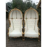 Modern French Throne Balloon Chairs In White Leather - A Pair