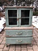Vintage Childrenand039s Solid Wood Kitchen Hutch Kids China Cabinet 1920s Or 30s