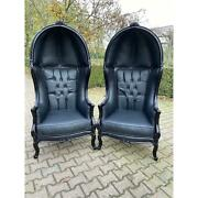 French Black Leather Throne Balloon Chairs - A Pair