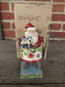 Jim Shore Holiday Fun Santa With Cow Pull Toy Figurine