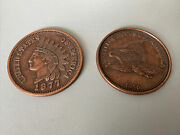 2 Vintage Oversized 3 1877 Novelty Indian Head Penny Large Coin One Cent Eagle
