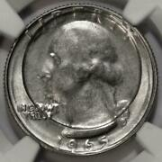 1965 Ngc Ms64 Indented By A Dime Planchet Quarter Mint Error Amazing Struck Thru