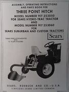 Sears 3-point Hitch And Disc Harrow Implement Garden Tractor Owner And Parts Manuals