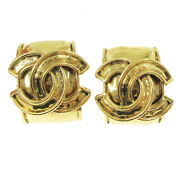 Cc Logos Earrings Clip-on Gold-tone 94p Accessories Vintage 02961