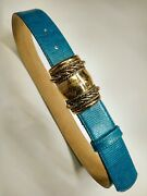 Units 90's Vintage Belt S/m Couture Style Leather Teal Tourquoise Golden Buckle