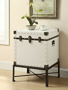 Coaster Industrial Trunk-style Accent Cabinetwith Nailhead Trim White 902819