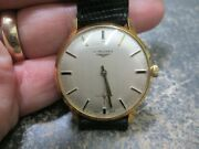 Mens Vintage Longines Rose 18k Gold Running Watch 17 Jewels Very Clean