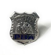 Vintage City Of New York Police Mini Pba Badge Pin Blue And Sterling