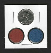 Wwii 1943 Steel Penny + Blue And Red Opa Food Ration Tokens All Uncirculated