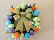 Easter Wreath With Glitter Bows Happy Easter Wreath Eggs With Glitter Bows