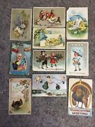 Lot Of Antique Holiday Postcards Easter-christmas-thanksgiving