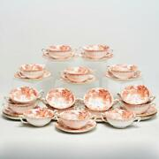 Set Of Fourteen 14 Royal Crown Derby Red Aves Cream Soup Bowls W/saucers