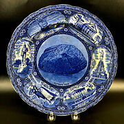 Plymouth Rock Plate Mass W. Adams And Sons Historical Blue 10 Souvenir England