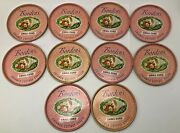 Vintage Bordens Cottage Cheese Metal Lids Chive Small Curd Pink Coasters 10