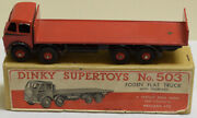 Dinky 503 Foden Flat Truck W/ Tailboard Red And Black Flash Exc W/ Vg Box Rare