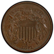 1871 2c Pcgs Ms 63 Bn Fs-101 Pop 1 Two Cent Copper Variety