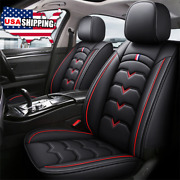 Black And Red Pu Leather 6d Car Seat Covers Full Set Universal Breathable Pad Usa