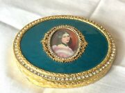 Vintage Luxury Oval Gold Jeweled Portrait Compact Mirror