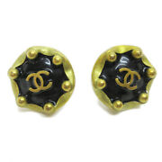 Cc Button Motif Earrings Gold Black Clip-on 94a Accessories 05205