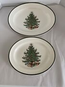 2 Vtg Cuthbertson Christmas Tree Oval Serving Platters. 14.5andrdquo 12.5andrdquo