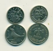 2 Different Coins From Croatia - 20 Lipa And 1 Kuna W/ Bird Both Dating 2007